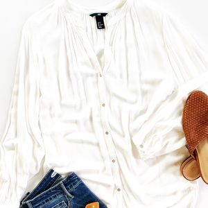 H&M | Flowy Long Sleeve White Button Down